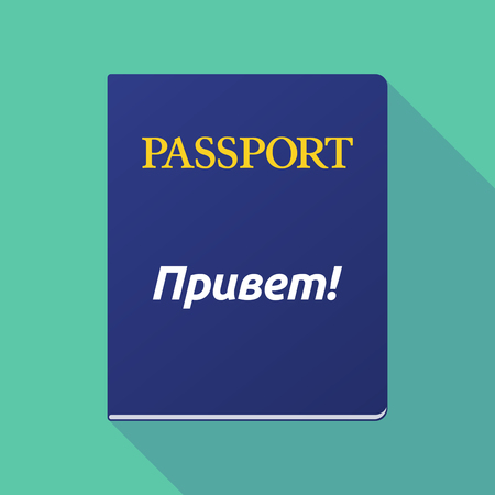 documentation: Illustration of a long shadow  passport with  the text Hello in the Russian language