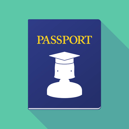 emigration: Illustration of a long shadow  passport with  a female graduated student