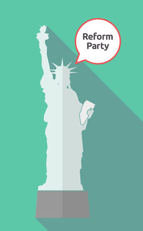 Illustration of a long shadow statue of liberty with a comic balloon and  the text Reform Party
