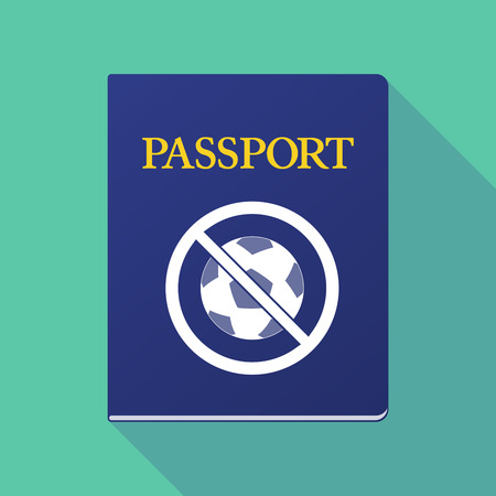 allowed to pass: Illustration of a long shadow  passport with  a soccer ball  in a not allowed signal