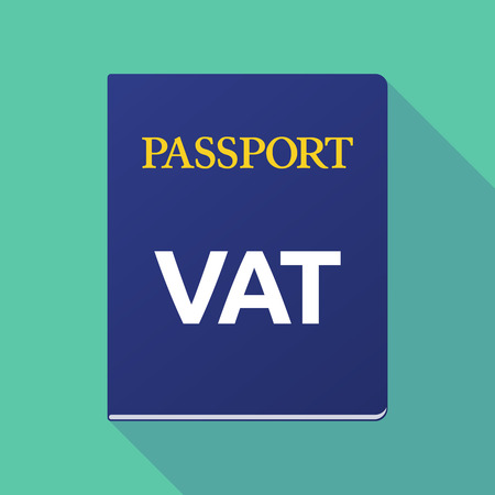 emigration: Illustration of a long shadow  passport with  the value added tax acronym VAT Illustration