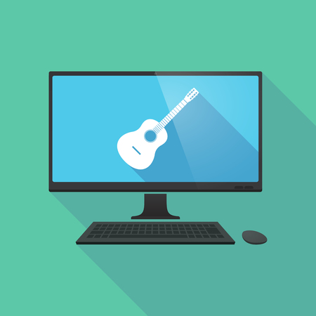 electronic music: Illustration of a long shadow personal computer with  a six string acoustic guitar Illustration