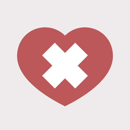 irritant: Illustration of an isolated flat color red heart with an irritating substance sign