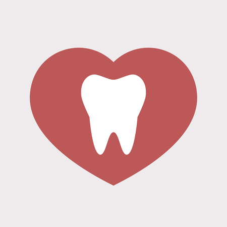 Illustration of an isolated flat color red heart with a tooth