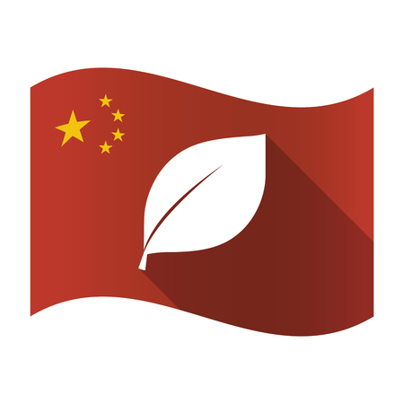 Illustration of an isolated China flag with a leaf