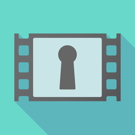 Illustration of a long shadow film with a key hole