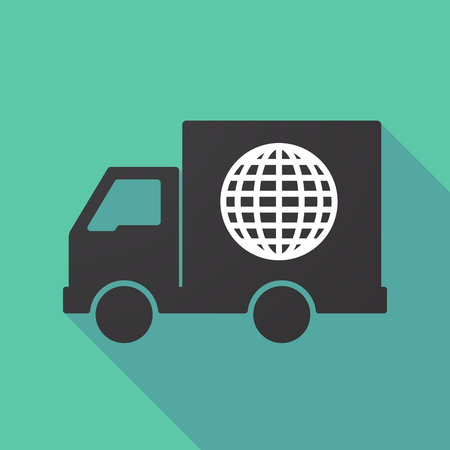 moving truck: Illustration of a long shadow truck with a world globe