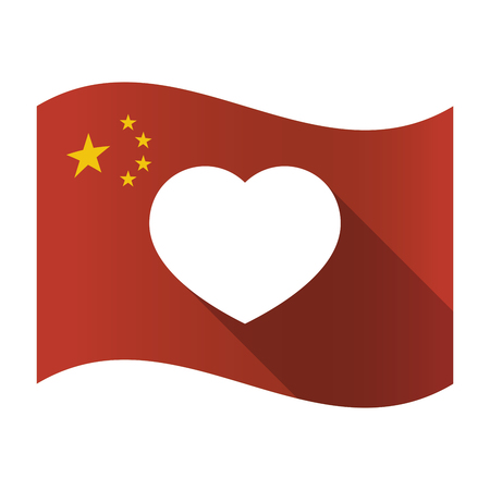 Illustration of an isolated China flag with a heart