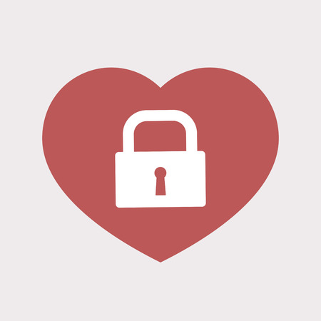 Illustration of an isolated flat color red heart with a closed lock pad