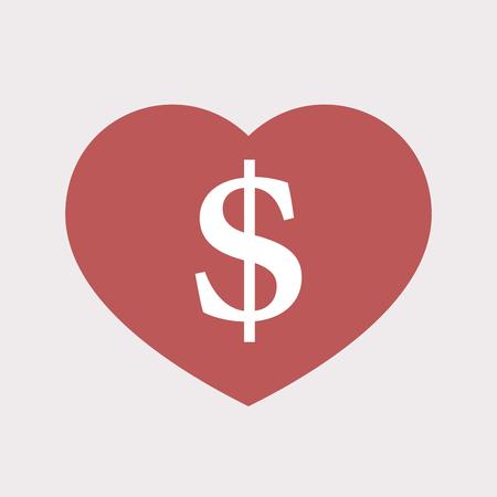 ドル記号で分離された単色赤ハートのイラスト