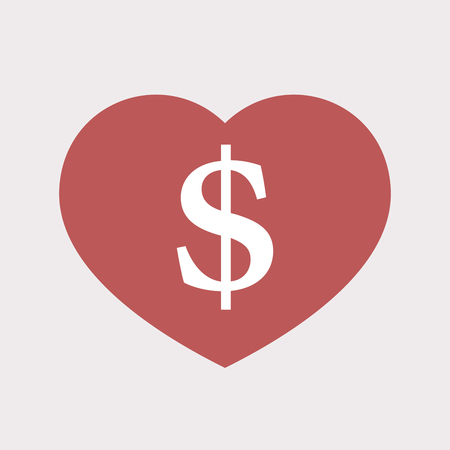 Illustration of an isolated flat color red heart with a dollar sign