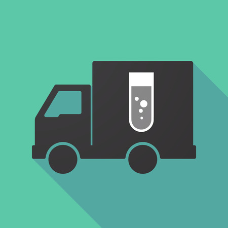 delivery truck: Illustration of a long shadow truck with a chemical test tube