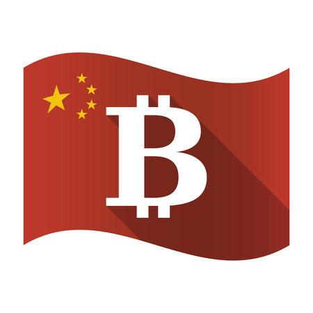 Illustration of an isolated China flag with a bit coin sign