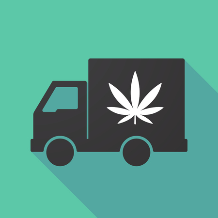 moving truck: Illustration of a long shadow truck with a marijuana leaf Illustration