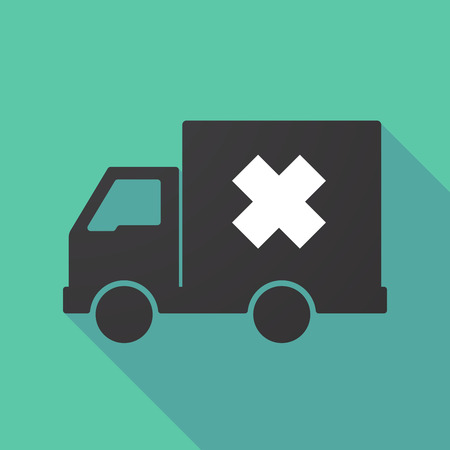Illustration of a long shadow truck with an irritating substance sign 向量圖像