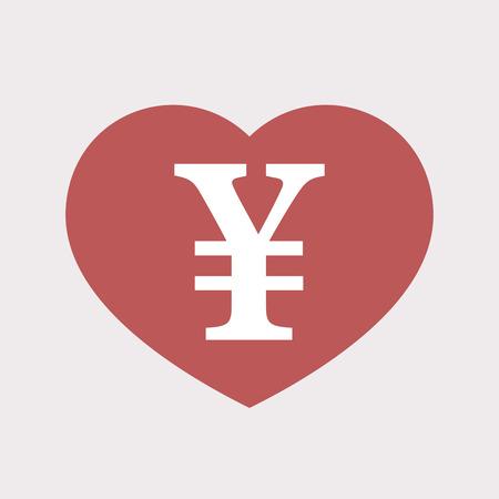 Ilustracja izolowane płaskie czerwone serce z jena znak Ilustracje wektorowe