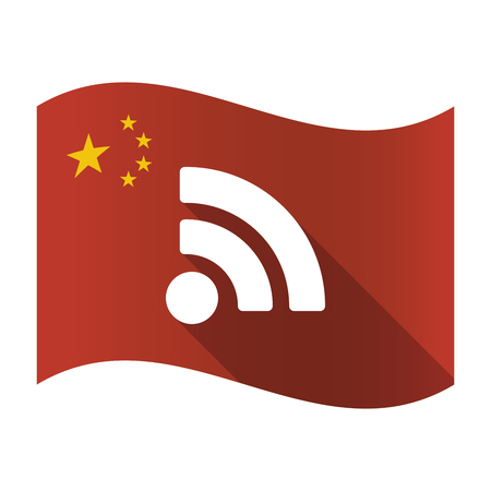 really simple syndication: Illustration of an isolated China flag with an RSS sign
