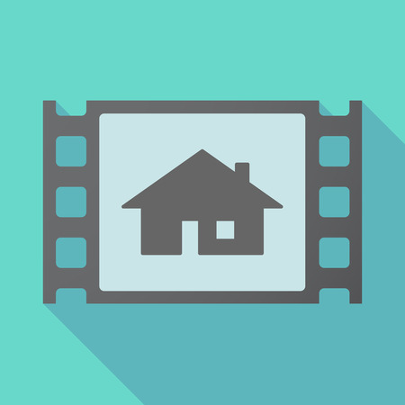 Illustration of a long shadow film with a house