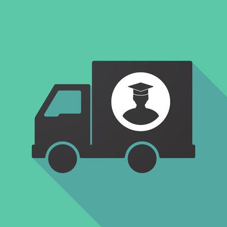 moving truck: Illustration of a long shadow truck with a student