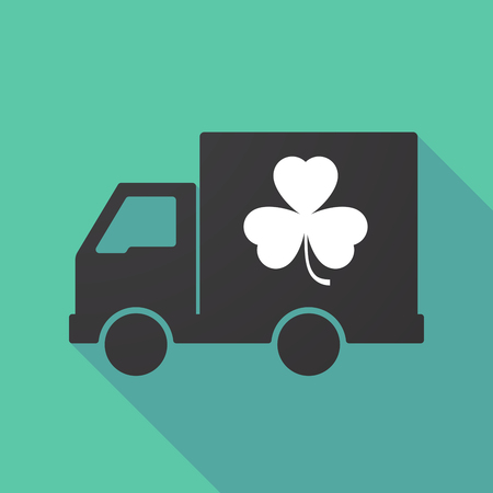 Illustration of a long shadow truck with a clover