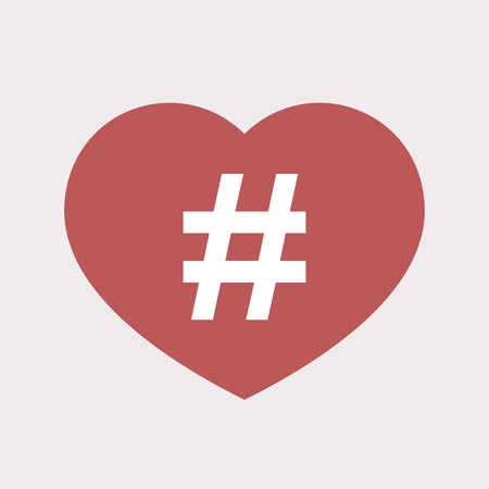Illustration of an isolated flat color red heart with a hash tag