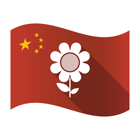 Illustration of an isolated China flag with a flower