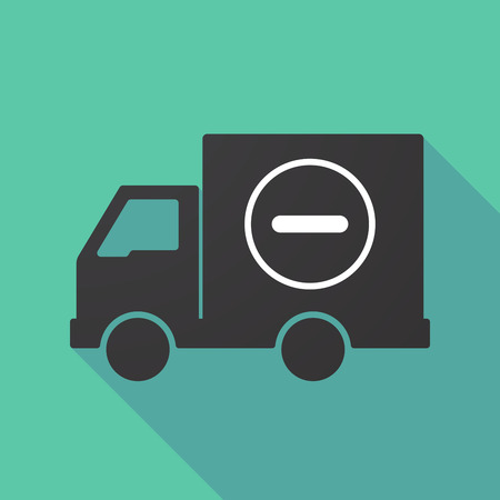 delivery truck: Illustration of a long shadow truck with a subtraction sign Illustration