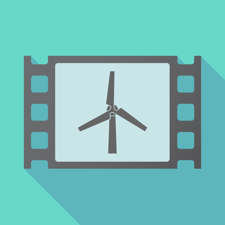 Illustration of a long shadow film with a wind turbine