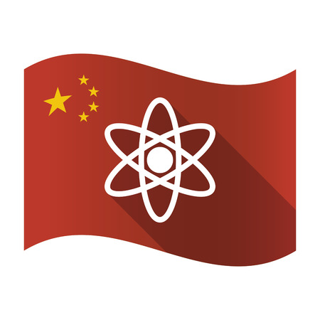 Illustration of an isolated China flag with an atom