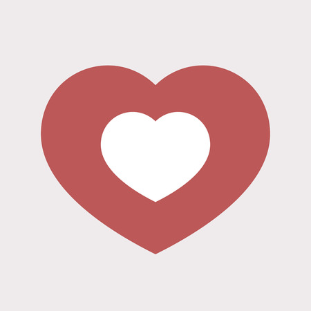 Illustration of an isolated flat color red heart with a heart