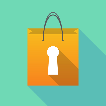 key hole: Illustration of a long shadow shopping bag with a key hole