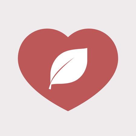 葉と分離された単色赤ハートのイラスト  イラスト・ベクター素材