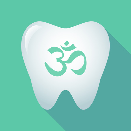 om sign: Illustration of a long shadow tooth with an om sign Illustration