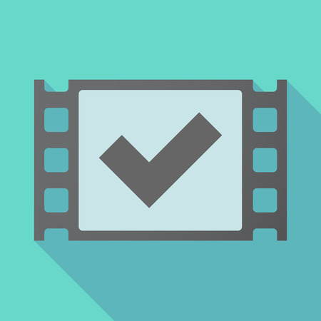Illustration of a long shadow film with a check mark