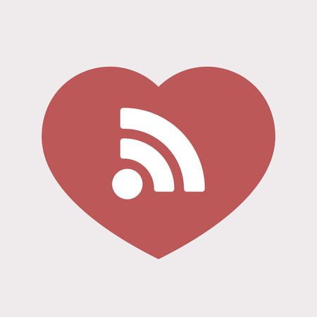really simple syndication: Illustration of an isolated flat color red heart with an RSS sign