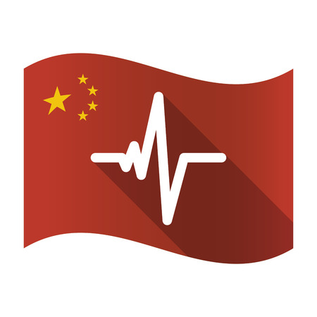 heart monitor: Illustration of an isolated China flag with a heart beat sign Illustration