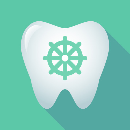 Illustration of a long shadow tooth with a dharma chakra sign