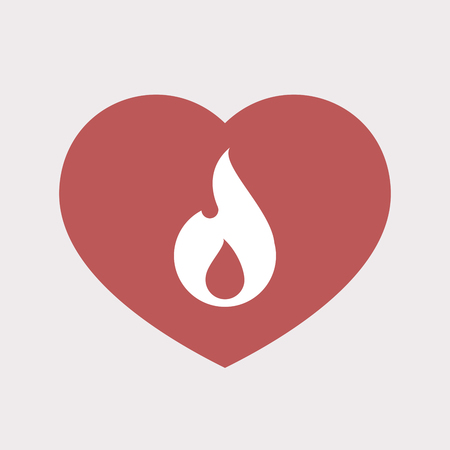 Illustration of an isolated flat color red heart with a flame Ilustração