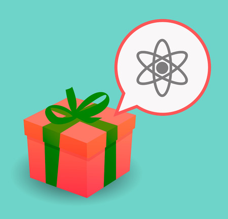 nuclear fusion: Illustration of a long shadow present box and a comic balloon with an atom