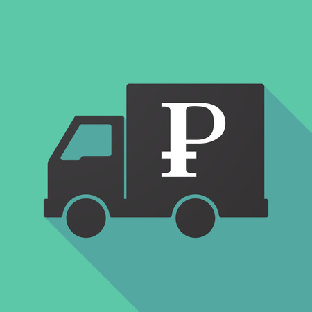 delivery truck: Illustration of a long shadow truck with a ruble sign