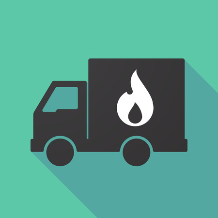 moving truck: Illustration of a long shadow truck with a flame