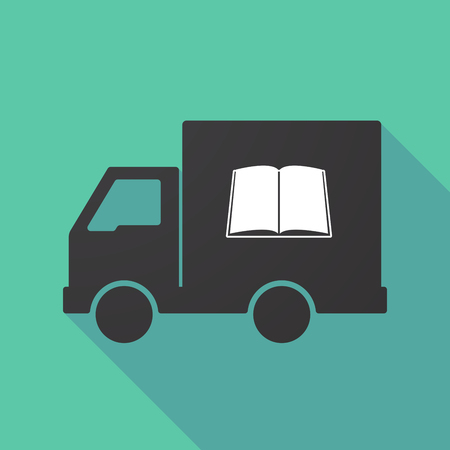 Illustration of a long shadow truck with a book