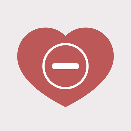 Illustration of an isolated flat color red heart with a subtraction sign