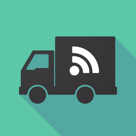 Illustration of a long shadow truck with an RSS sign Illustration