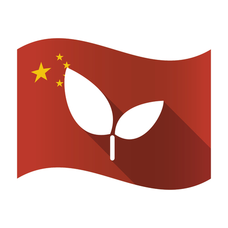Illustration of an isolated China flag with a plant Çizim