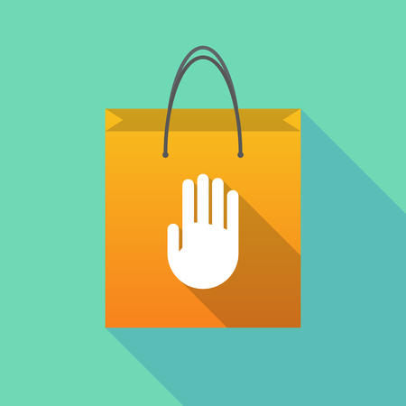 hand touch: Illustration of a long shadow shopping bag with a hand Illustration