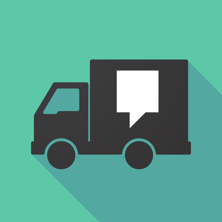 moving truck: Illustration of a long shadow truck with a tooltip Illustration