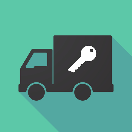 delivery truck: Illustration of a long shadow truck with a key Illustration