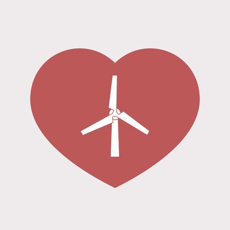 風力タービンと分離された単色赤ハートのイラスト  イラスト・ベクター素材