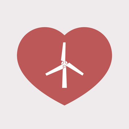 Illustration of an isolated flat color red heart with a wind turbine